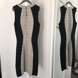 H&M Dresses - H&M black and cream pattern fitted dress